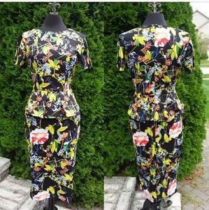 Dana Buchanan Vintage Black Multi Floral Peplum